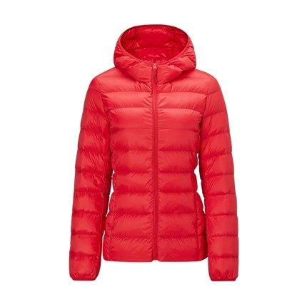 Women's Lightweight Slim-fit Down Jacket Holiday special Lifease Red S With cap