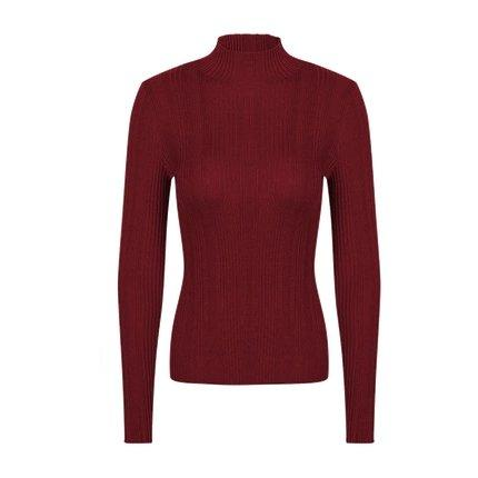 Women's Machine Washable 100% Wool Mock Neck Sweater Apparel shoe bag LIFEASE Red S