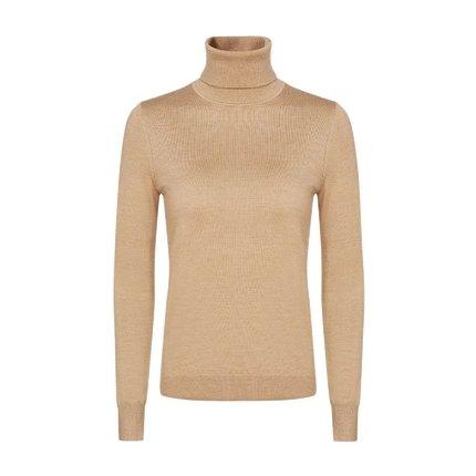 Women's Machine Washable 100% Wool Turtle Neck Sweater Apparel shoe bag LIFEASE Caramel S