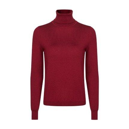 Women's Machine Washable 100% Wool Turtle Neck Sweater Apparel shoe bag LIFEASE Red S