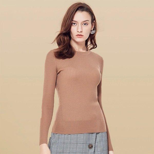 Women's Machine Washable Round Neck Wool Sweater Apparel shoe bag LIFEASE