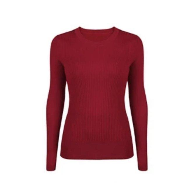 Women's Machine Washable Round Neck Wool Sweater Apparel shoe bag LIFEASE Red S