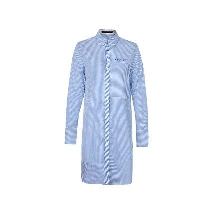 Women's Mid- Long Cotton Button Down Shirt with Pockets Apparel shoe bag LIFEASE Blue Striped S