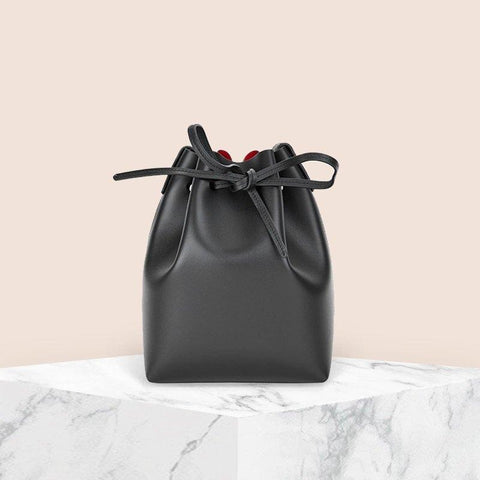 Women's Minimalist Leather Bucket Bag Apparel shoe bag LIFEASE