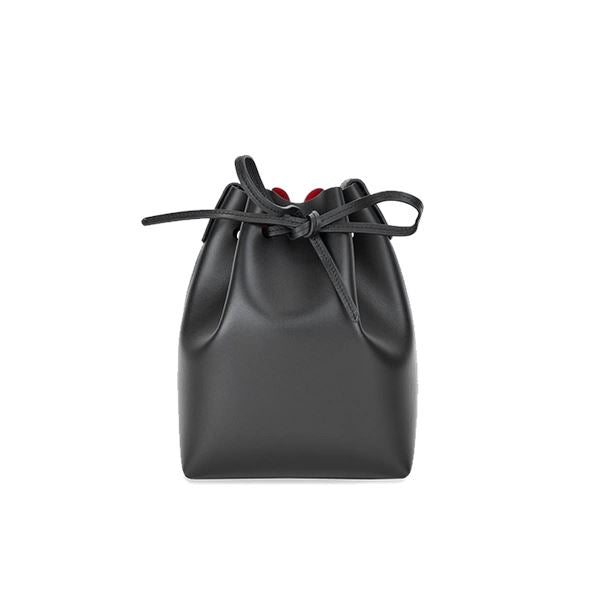 Women's Minimalist Leather Bucket Bag Apparel shoe bag LIFEASE Black/Red