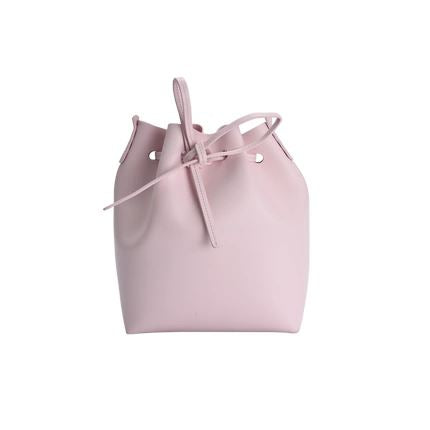 Women's Minimalist Leather Bucket Bag Apparel shoe bag LIFEASE Pink/Pink