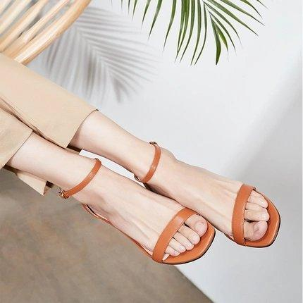 Women's Open Toe Ankle Strap Block Chunky Low Heeled Sandals Apparel shoe bag LIFEASE