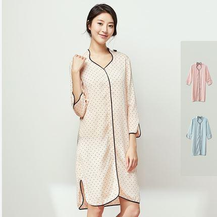 Women's Polka Dot Stand Collar Night Gown Apparel shoe bag LIFEASE