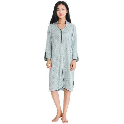 Women's Polka Dot Stand Collar Night Gown Apparel shoe bag LIFEASE Green XS