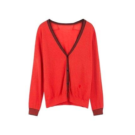 Women's Pure Wool Cardigan with Contrast Color Apparel shoe bag Lifease