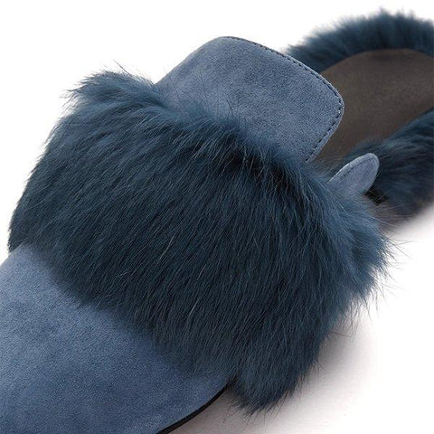 Women's Rabbit Fur Mules Shoes Apparel shoe bag LIFEASE