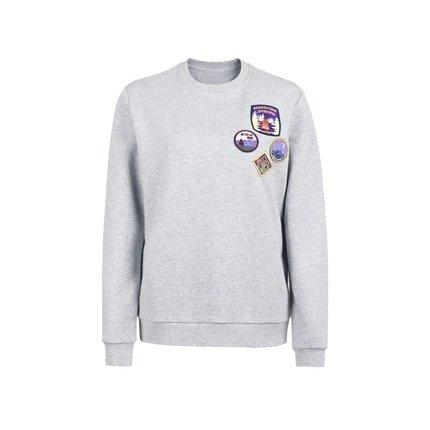 Women's Round Neck Sweatshirt with Vintage Badges Design Apparel shoe bag LIFEASE Grey S