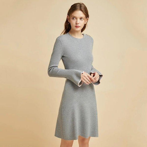 Women's Round Neck Wool Dress with Statement Sleeves Apparel shoe bag LIFEASE