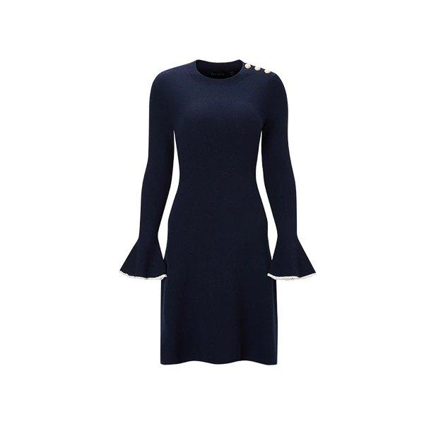 Women's Round Neck Wool Dress with Statement Sleeves Apparel shoe bag LIFEASE Blue S