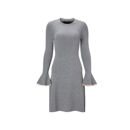 Women's Round Neck Wool Dress with Statement Sleeves Apparel shoe bag LIFEASE Grey S