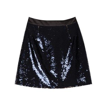 Women's Sequin Reversible Color Change Skirt Apparel shoe bag LIFEASE Navy S