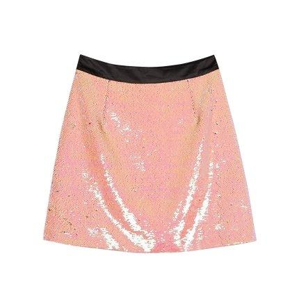 Women's Sequin Reversible Color Change Skirt Apparel shoe bag LIFEASE Pink S