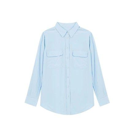 Women's Silk Soft Shirt Apparel shoe bag LIFEASE Light Blue XS