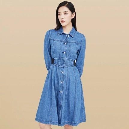 Women's Slim Waist Denim Dress - Lifease