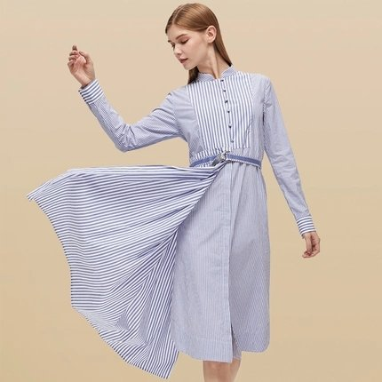 Women's Striped Belted Dress - Lifease