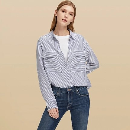 Women's Striped Shirt with Pocket - Lifease