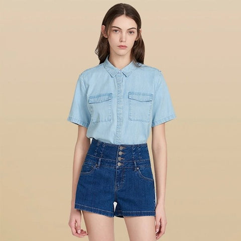 Women's Tencel Loose Half Sleeve Denim Shirt - Lifease