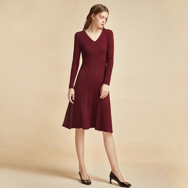 Women's V-neck Slim-fit Wool Dress - Lifease