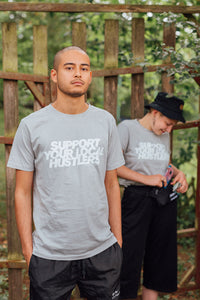 SUPPORT YOUR LOCAL HUSTLERS. - Organic Unisex T-Shirt - Light grey