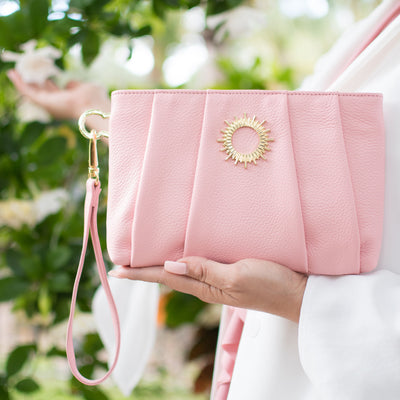 Halo by HALOTOPIA Pink Pleated Leather Wristlet Clutch Bag