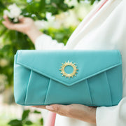Halo by HALOTOPIA Teal Leather Clutch Bag