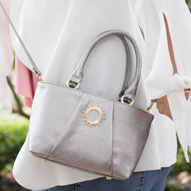 Halo by HALOTOPIA Small Silver Leather Top Handle Tote Bag