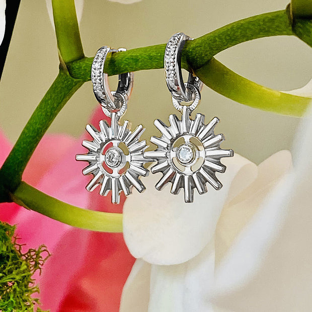 Your Heavenly Light Halo by HALOTOPIA Charm Earrings in Sterling Silver with White Sapphires