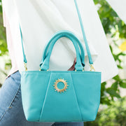 Halo by HALOTOPIA Small Teal Leather Top Handle Tote Bag