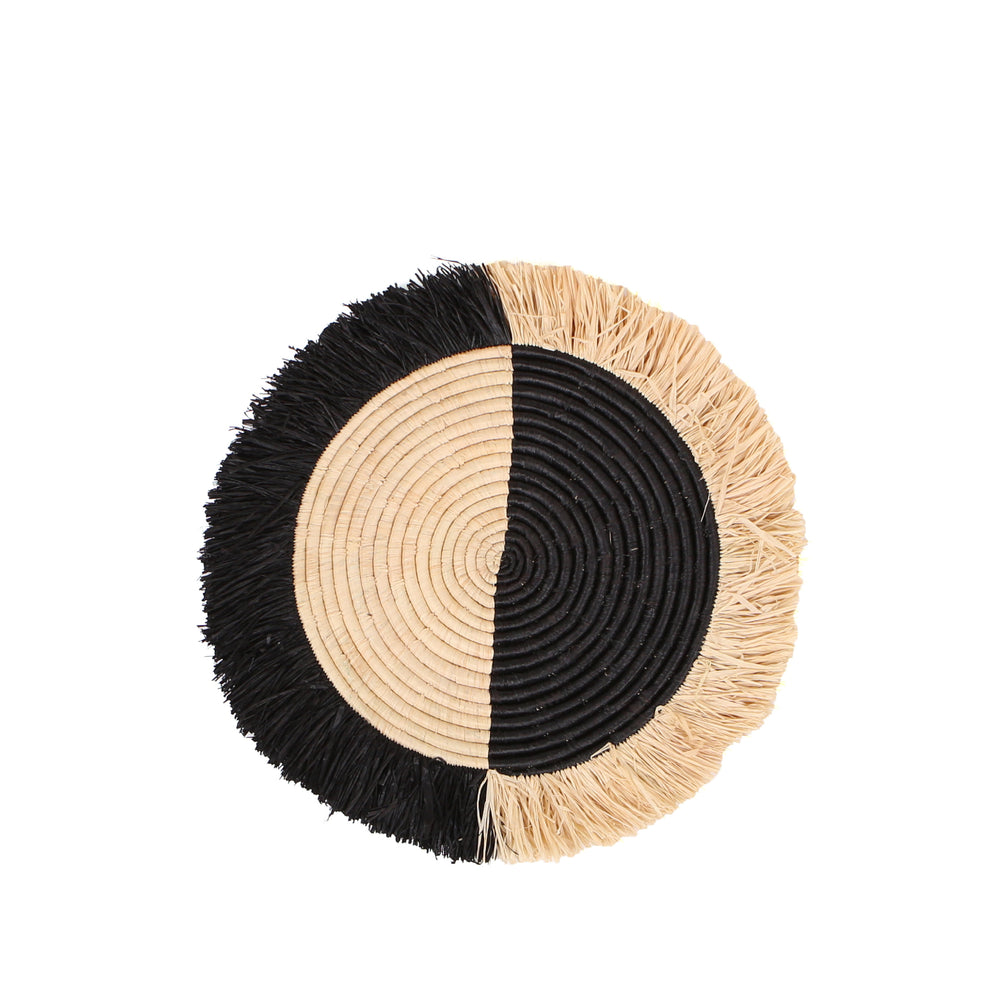 Black Half Moon Fringed Wall Disc
