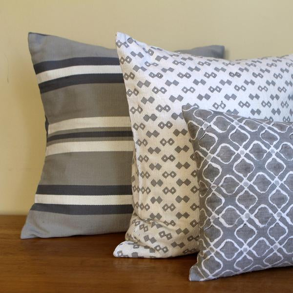 Grey Petal Silk Pillow