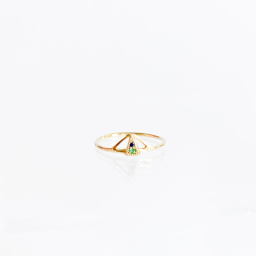 14k Gold Pyramid Ring
