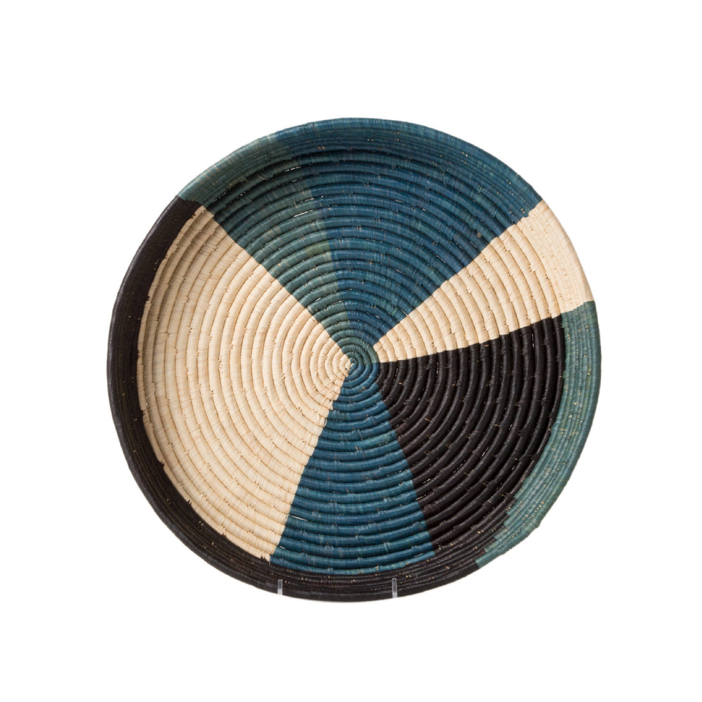 Color Blocked Raffia Tray