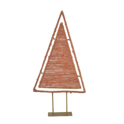 Large Gold Iron Triangle with Pink Wool