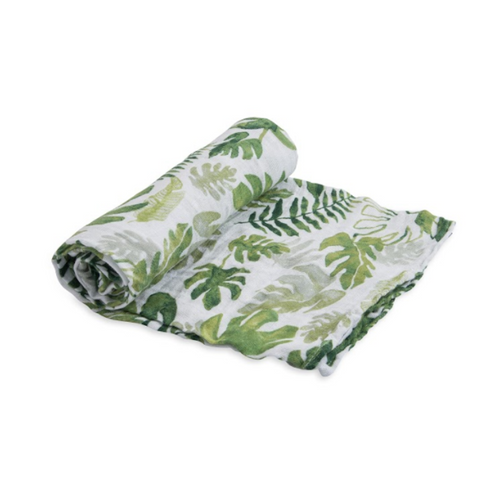 Organic Cotton Tropical Leaf Swaddle