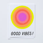 Neon Glowing Good Vibes Card
