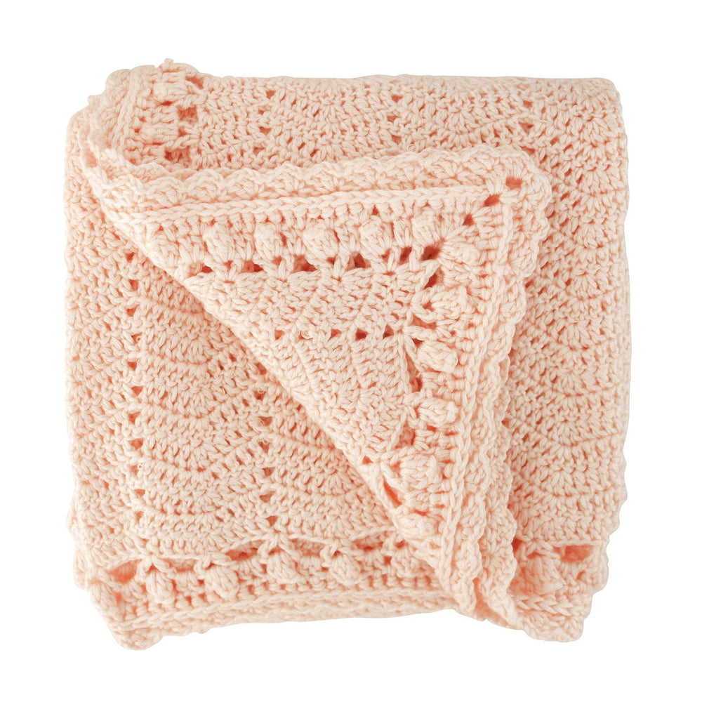 Peach Crocheted Baby Blanket