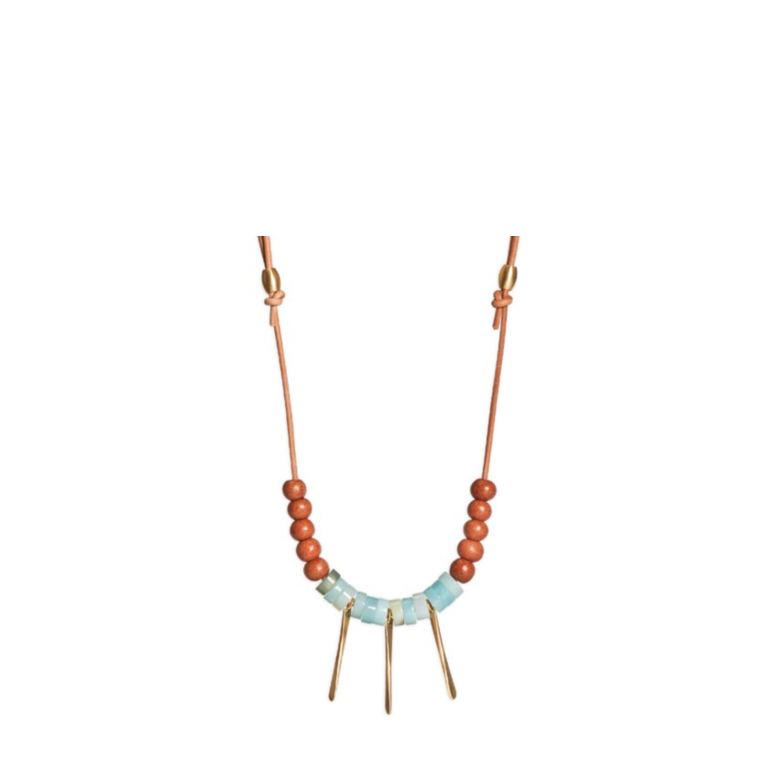 Amazonite + Leather Annette Necklace