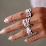 Small Silver Ribbed Band Ring