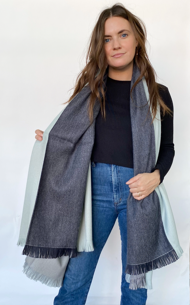 Monochrome Reversible Blanket Scarf
