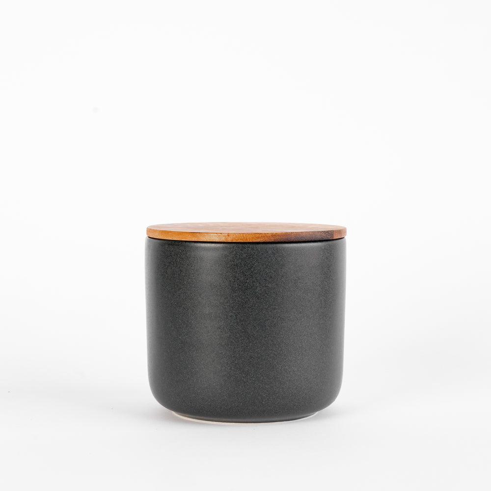 Black Stoneware Containers with Acacia Lids