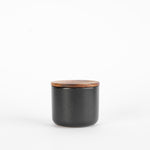 Black Stoneware Container with Acacia Lid