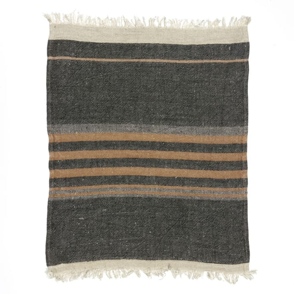 Black Stripe Belgian Guest Towel