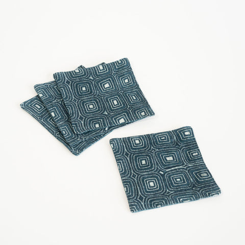 Set of 4 Indigo Cotton Coasters