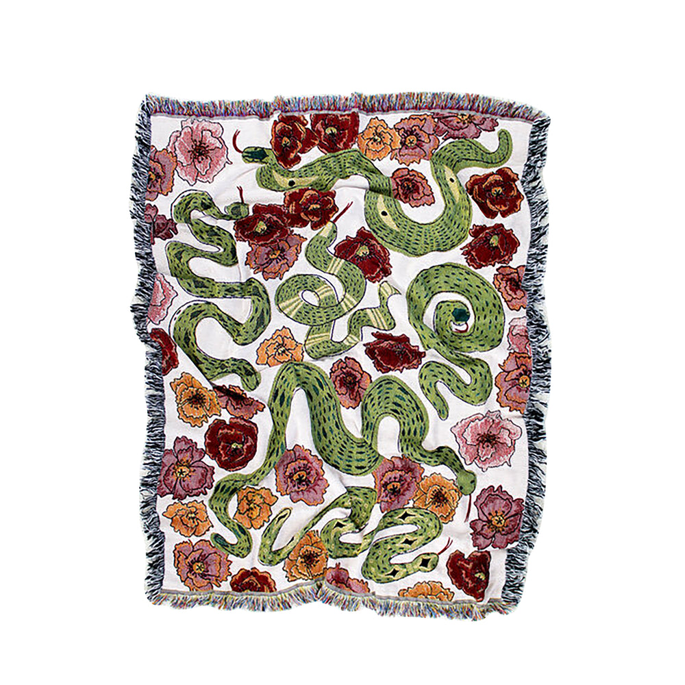 Snakes in the Poppy Field Knit Throw