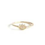 14K Gold Tiny Eye with Diamond Ring